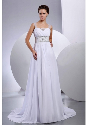 Beaded Wedding Gown Dress Chiffon Court Train