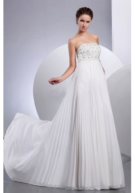Pleated Beaded Empire Wedding Dresses Chiffon Strapless