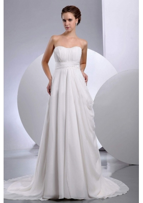 Chiffon Ruched Court Train Wedding Dress Strapless