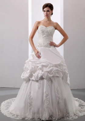 Pick-ups Sweetheart Court Train Bridal Dress Taffeta
