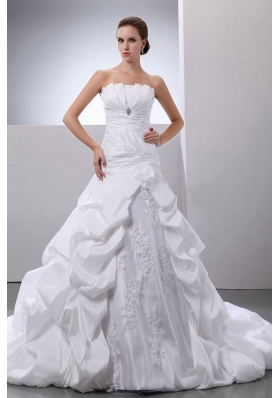 Pick-ups Appliques A-Line Taffeta Strapless Wedding Dress