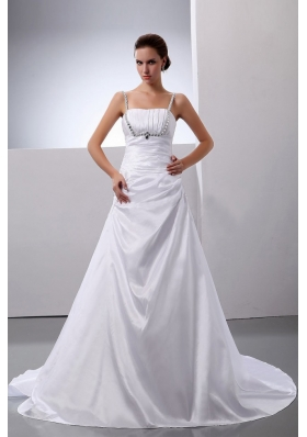 Spaghetti Straps Wedding Gown Dress Taffeta Beading