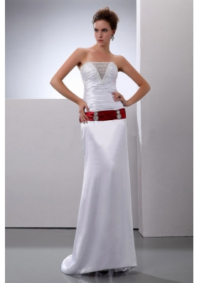 Column Strapless Wedding Dress Sweep Train Satin
