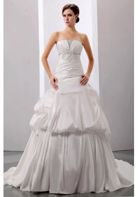 Beading A-Line Strapless Wedding Bridal Dress Taffeta