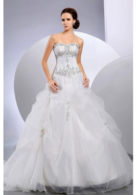 Pick Ups Organza Wedding Gown Dress Court Train