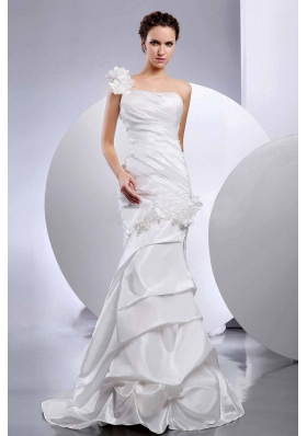 Mermaid One Shoulder Handmade Flower Wedding Dress Layered