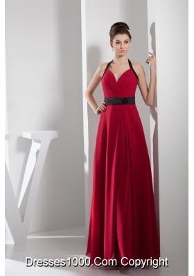 2013 Simple Column Halter Sash Long Red Prom Dress