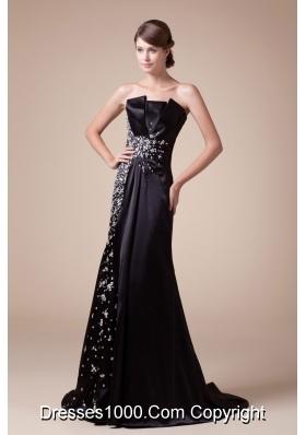 2013 Strapless Beading Black Prom Dress Brush Train