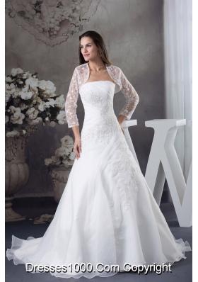 A-line Appliques White Jacket Brush Train Wedding Dress