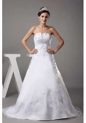 A-line Strapless Court Train Appliques Wedding Dress
