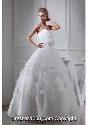 Appliques Ruching Sweetheart Ball Gown Wedding Dress