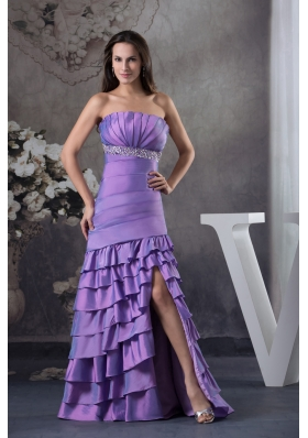 Beading and Ruffled Layers Column Strapless long 2013 Prom Dress
