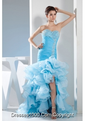 Beading Mermaid Sweetheart High low Aqua Blue Prom Dress