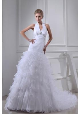 Beading Ruffles A-line Halter Court Train  Wedding Dress