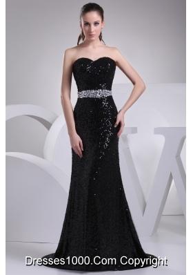 Black Sequin Beading Sweetheart Brush Train Prom Dress