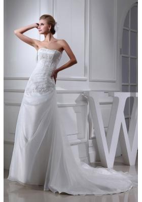 Cheap Appliques Strapless A-line Chapel Train Wedding Dress