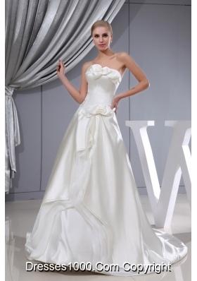 Hand Made Flowers A-line Chapel Train Strapless Wedding Dress