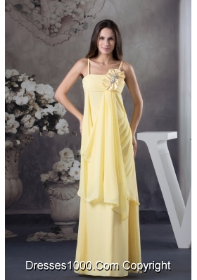 Hand Made Flowers Yellow Empire long Straps Chiffon Prom Dress