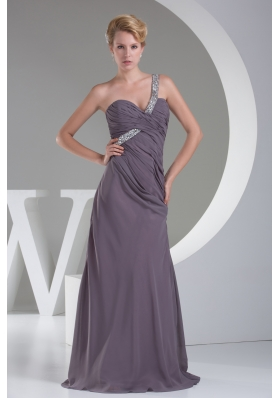 High End Beaded Decorate Shoulder Long Prom Dress