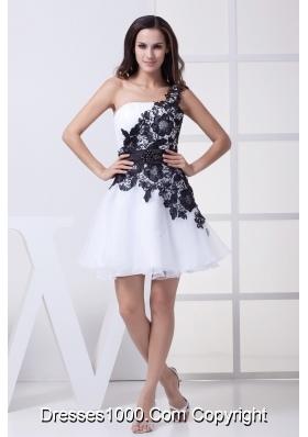 Lace One Shoulder Mini-length White Prom Dress