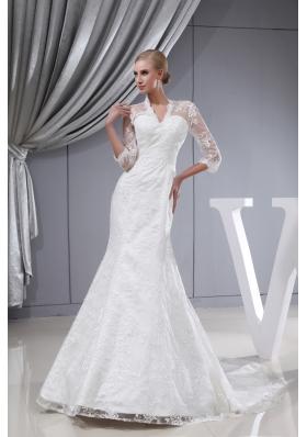 Lace V-neck Mermaid Court Train 3/4 Sleeves Wedding Dress