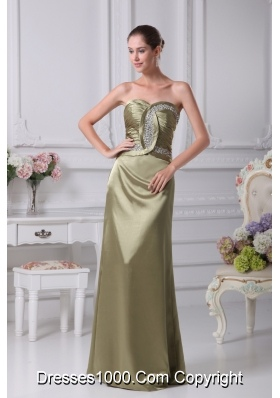 Olive Green Sweetheart Beading Prom Dress