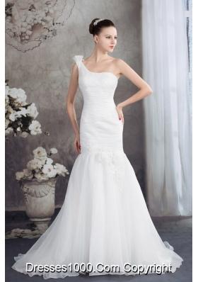 One Shoulder Mermaid Ruching Hand Made Flowers Wedding Dress