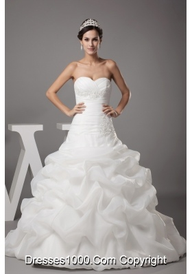 Pick-ups Sweetheart A-line / Princess Wedding Dress With Corset up Back