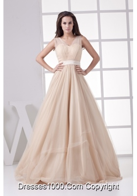 Romantic Princess V-neck Long Prom Dress For 2013