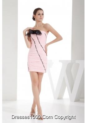 Ruching Column Strapless Short Prom Dress in Pink