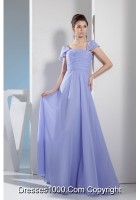 Ruching Empire Square long Prom Dress with Cap Sleeves