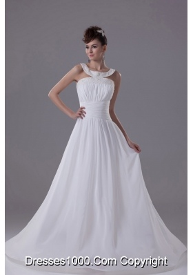 Scoop Neck Beading Princess Wedding Dress With Cross Criss Back