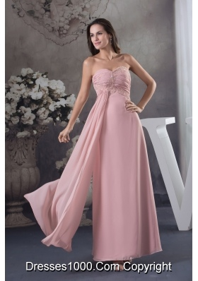 Simple Beading Sweetheart Pink Long Column 2013 Prom Dress