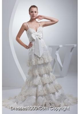 Spaghetti Straps Bow A-line Ruffled Layers Wedding Dress
