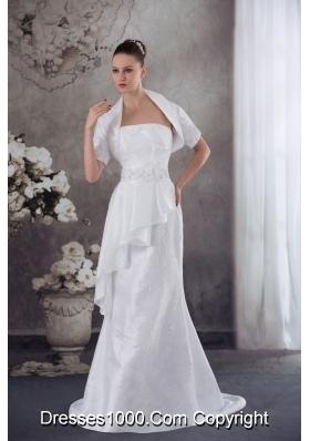 Strapless Column Jacket Beading Appliqes Wedding Dress