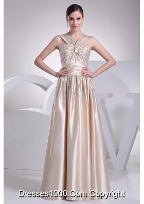 Straps Beading Satin Champagne Prom Dress