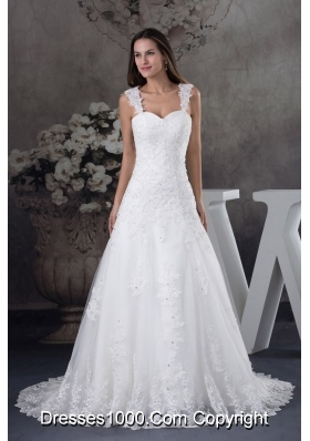 Straps Lace A-line Wedding Dress With Brush Train