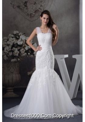 V-neck Mermaid Lace Brush Train Wedding Dress
