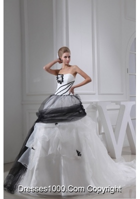 White and Black Appliques Ball Gown Strapless Chapel Train Wedding Dress