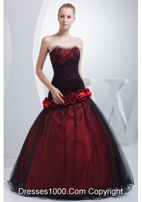 Wine Red Sweetheart Hand Made Flowers Beading Prom Dress