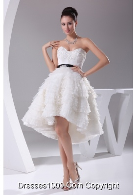 A-line / Princess Ruffled Layers Knee-length Sash Wedding Dress