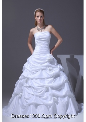 A-line Hand Made Flowers Pick-ups Strapless Wedding Dress