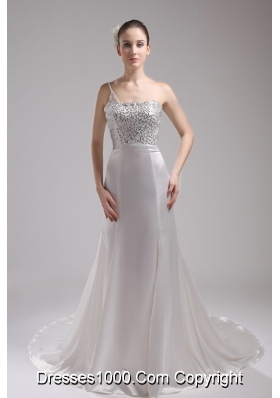 A-line One Shoulder Sequins Beading Wedding Dress