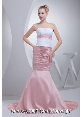Appliques Beading Mermaid Court Train Strapless Prom Dress