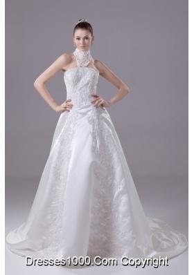 Appliques High Neck Taffeta Wedding Dress with Court Train