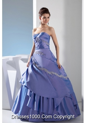 Appliques Ruching Ball Gown Floor-length Strapless Quinceanera Dress