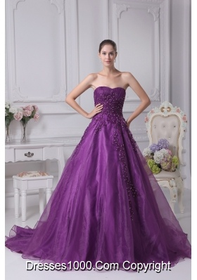 Amazing Appliques Sweetheart A Line Chapel Train Wedding Dress In Purple