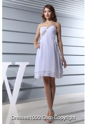 Beading One Shoulder Knee-length Prom Dress