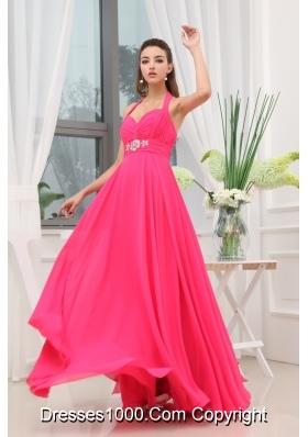 Beading Ruching Hot Pink Halter Long Prom Dress