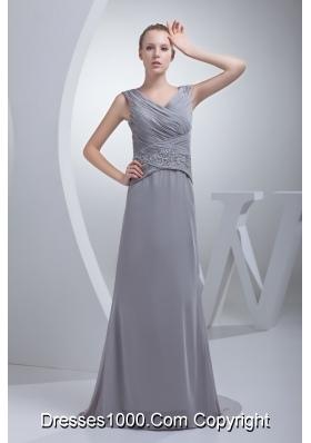 Beading Ruching V-neck Brush Train Column Prom Dress